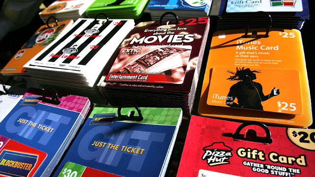 PHOTO: Gift cards from various retailers are seen on display at a convenience store in San Francisco, California.