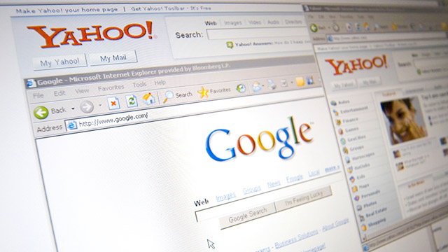PHOTO: Yahoo! and Google logos
