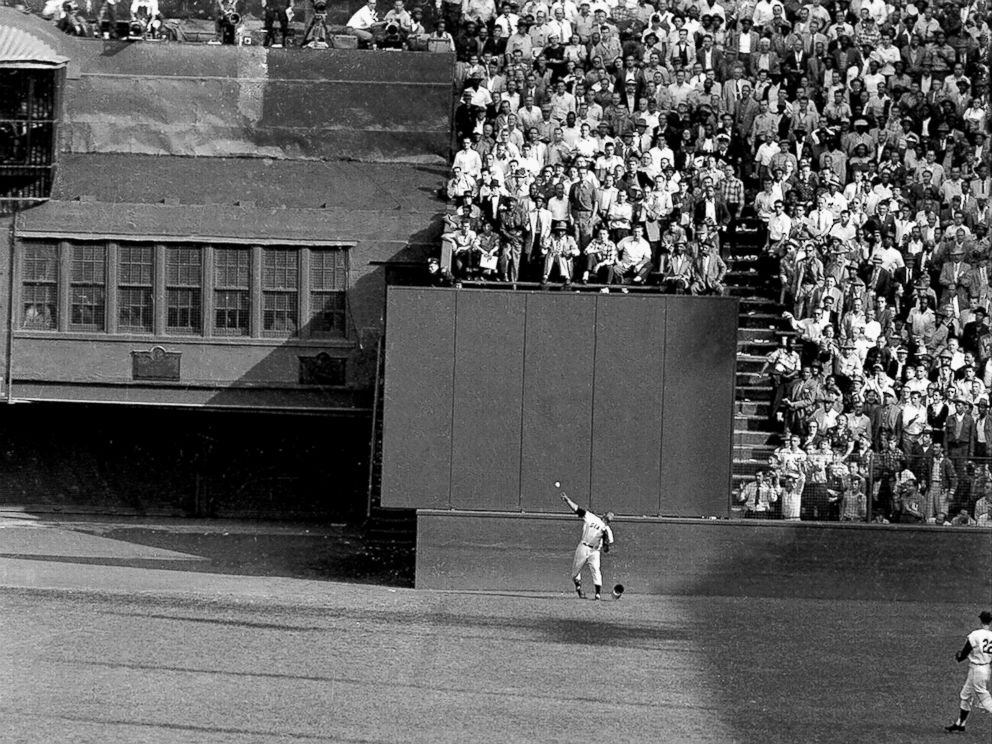 PHOTO: New York Giants, Willie Mays famous catch in the 1954 World Series made in the Polo Grounds against Vic Wertz of the Cleveland Indians.