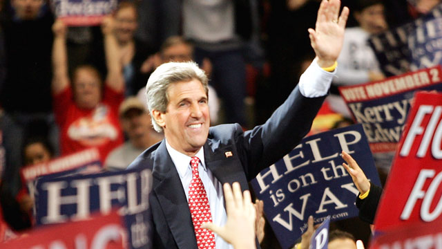 PHOTO: Democratic presidential candidate Senator John Kerry (D-MA) attends a rally November 1, 2004 in Detroit, Michigan.