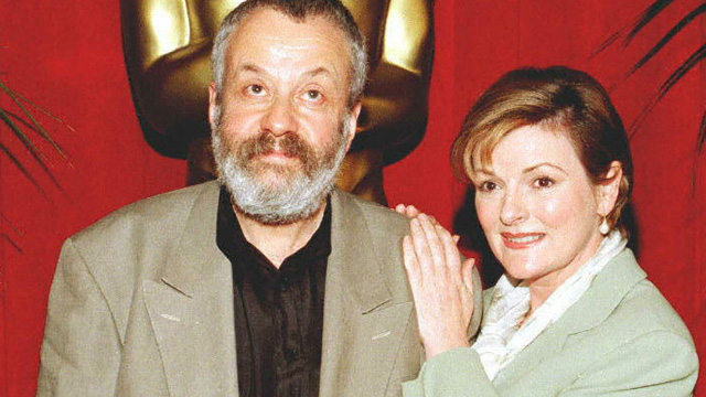 """PHOTO: Director Mike Leigh (L) and actress Brenda Blethyn pose as they arrive for the Academy Awards nominee luncheon 11 March in Beverly Hills, California where Leigh is nominated for best director and Blethyn for best actress, both for the film """"Secrets"""