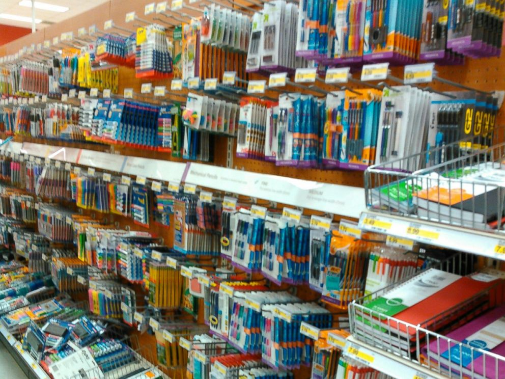 PHOTO:School supplies displayed on a shelf are seen in this undated file photo.