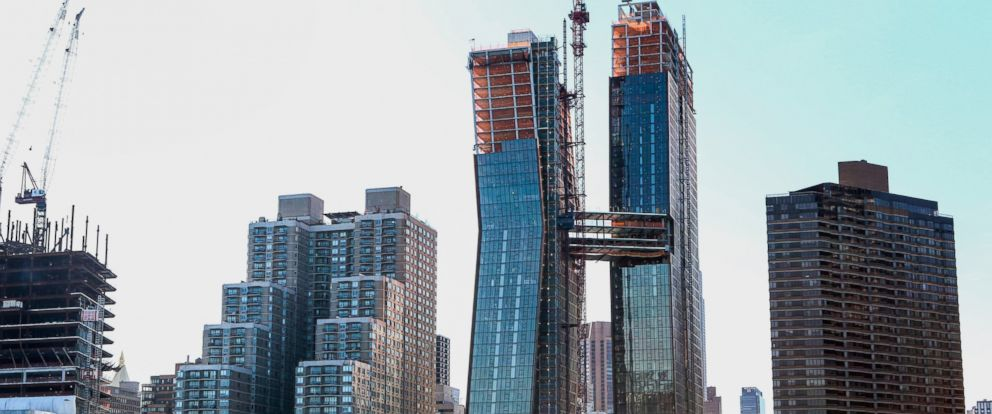 PHOTO: The American Copper Buildings with skybridge stands under construction in New York, April 19, 2016.
