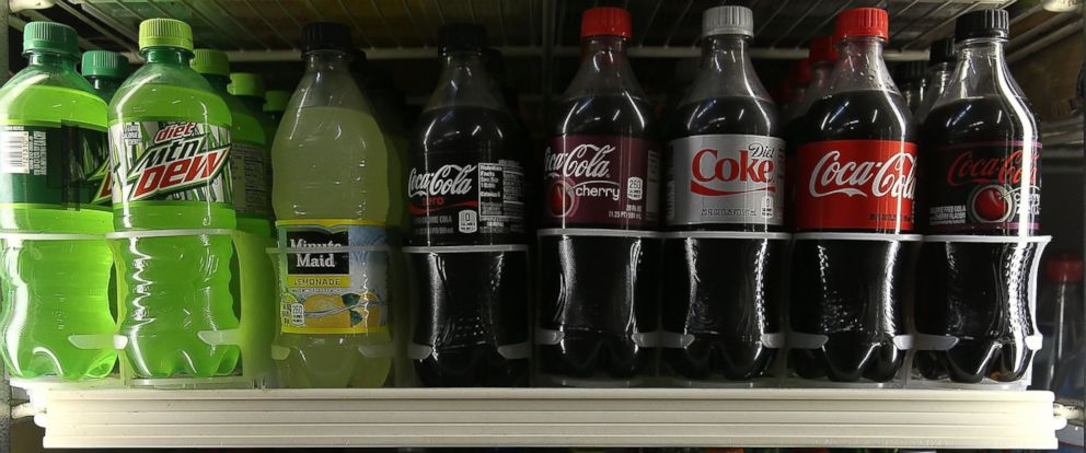 PHOTO: Bottles of soda are displayed in a cooler at a convenience store on June 10, 2015 in San Francisco, Calif.