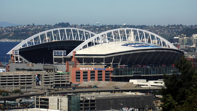 PHOTO: General view of exterior of Qwest Field, the home of the Seattle Seahawks, in Seattle, Wash.