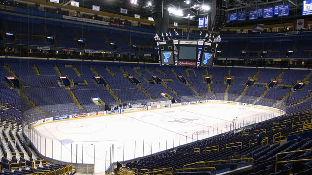 PHOTO: Interior view of the Savvis Center, home of the St. Louis Blue taken on February 15, 2003 in St. Louis, Missouri.