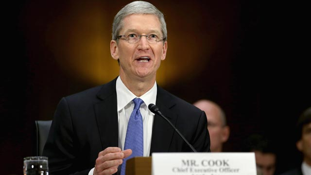 PHOTO: Apple CEO Timothy Cook delivers opening remarks while testifying before the Senate Homeland Security and Governmental Affairs Committees Investigations Subcommittee about the companys offshore profit shifting and tax avoidance on Capitol Hill, Ma