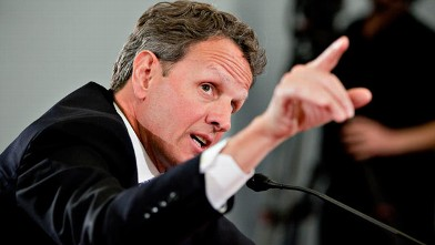PHOTO: Timothy F. Geithner, U.S. treasury secretary, speaks at a House Budget Committee hearing in Washington, D.C., U.S., Feb. 16, 2012.