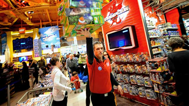 "PHOTO: Toys ""R"" Us employee in New York store"