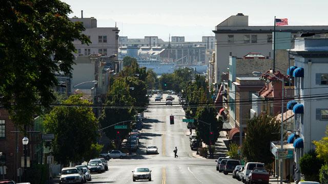 PHOTO: A pedestrian crosses Georgia Street in Vallejo, California.