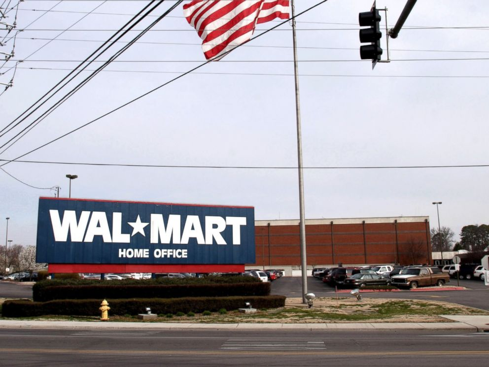 PHOTO: A sign announces the headquarters of Wal-Mart on March 16, 2005 in Bentonville, Arkansas.