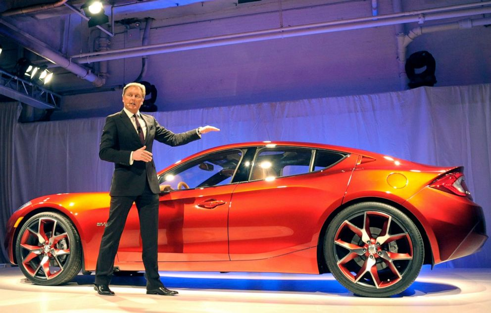 PHOTO: Henrik Fisker, co-founder and chairman of Fisker Automotive Inc., introduces the companys new plug-in hybrid vehicle, the Atlantic, during a preview in New York, April 3, 2012.