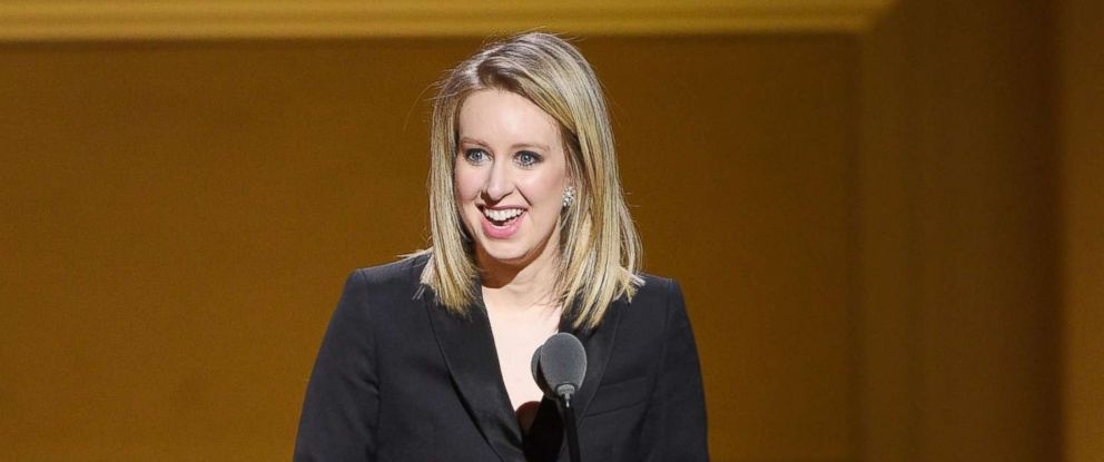 PHOTO: Honoree Elizabeth Holmes speaks onstage at the 2015 Glamour Women of the Year Awards,Nov. 9, 2015, in New York.