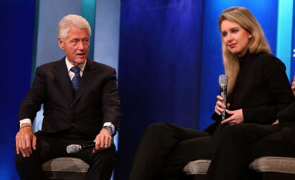 PHOTO: Bill Clinton and Elizabeth Holmes attend the 2015 Clinton Global Initiative Closing Plenary at Sheraton Times Square, Sept. 29, 2015, in New York.