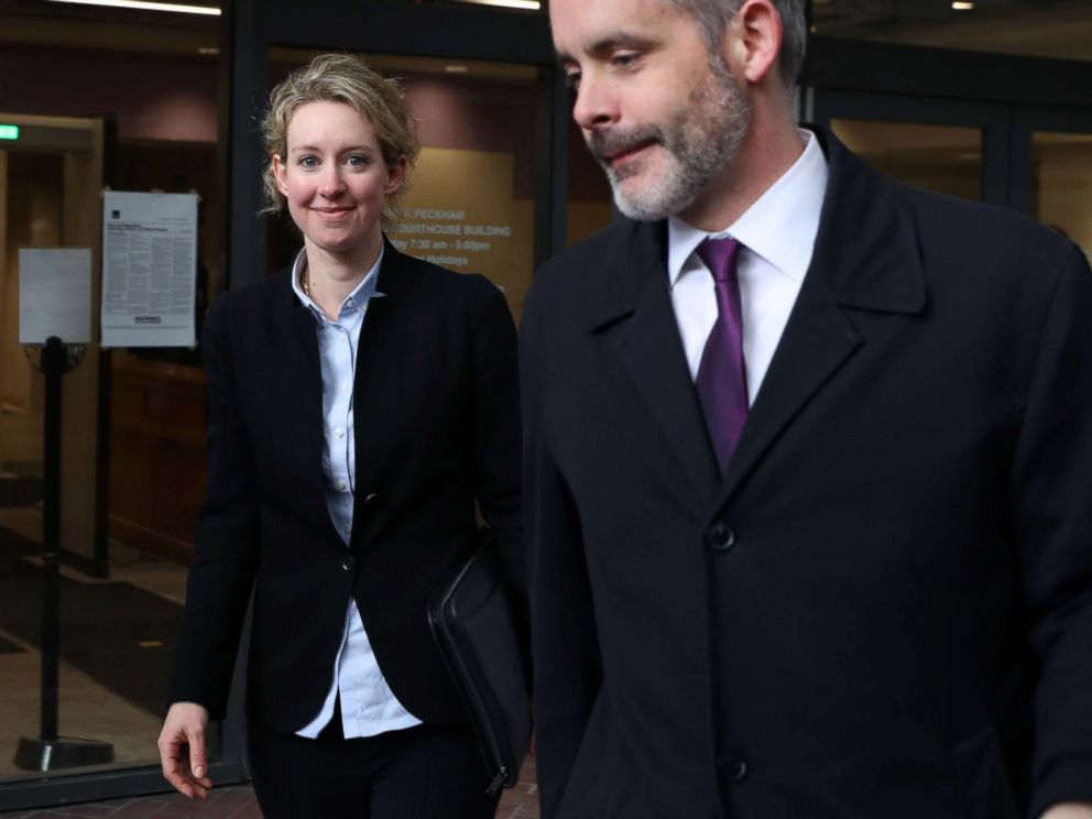 PHOTO: Former Theranos founder and CEO Elizabeth Holmes (L) leaves the Robert F. Peckham U.S. Federal Court, Jan. 14, 2019, in San Jose, Calif.