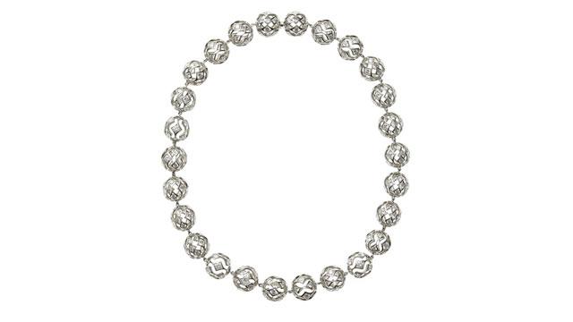 PHOTO: De Beers Sphere Cutout Diamond Shaped Necklace