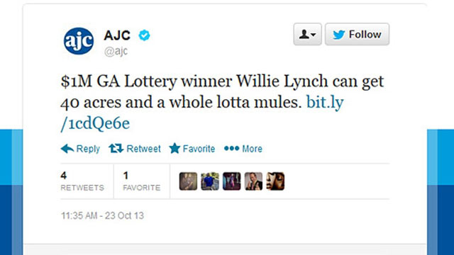 PHOTO: The Atlanta Journal-Constitution posted a tweet saying, ?$1M GA Lottery winner Willie Lynch can get 40 acres and a whole lotta mules.?