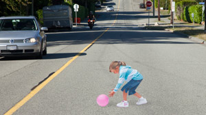 Watch Out! 3-D Road Image of Little Girl in the Street Meant to Surpise Drivers Into Slowing Down