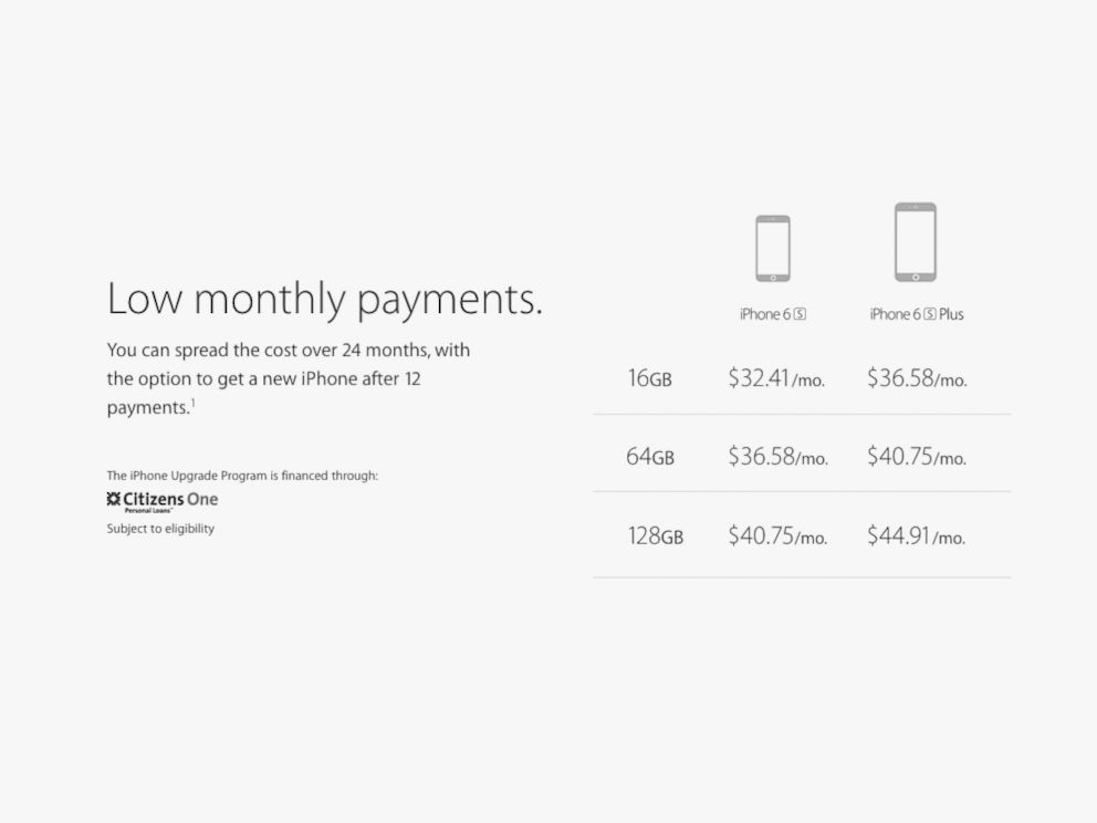 PHOTO: Here are Apples monthly payment amounts for the new iPhone 6s and iPhone 6s Plus under its new upgrade program.