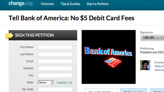 PHOTO: change.org has a petition on their website asking Bank of America to stop the $5 debit card fees.