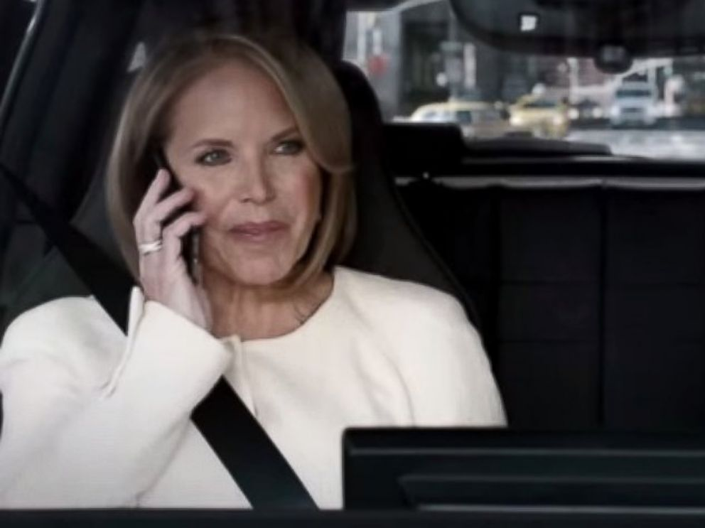 PHOTO: Katie Couric and Bryant Gumbel appear in an ad for the BMW i3 for the 2015 Super Bowl.