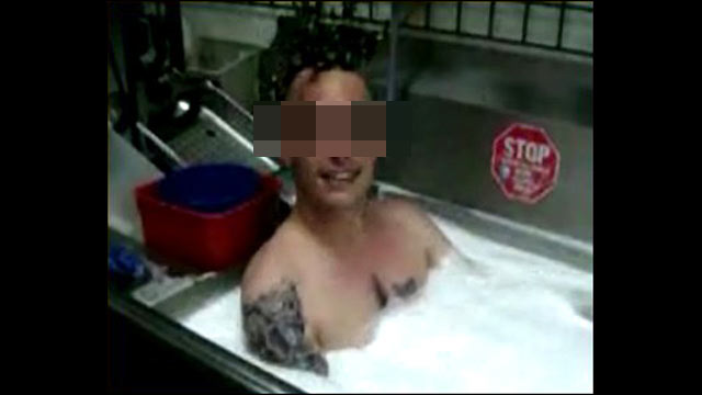 PHOTO: A Burger King employee was recorded taking a soapy bath in a utility sink in one of its restaurants in a video that ended up on his MySpace page.