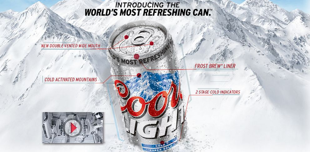 PHOTO: The new Coors Light can features a double-vented wide mouth.