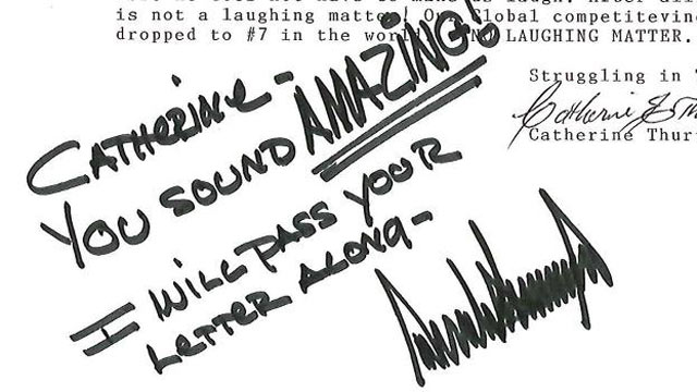 PHOTO: A signed letter from Donald Trumps facebook page.