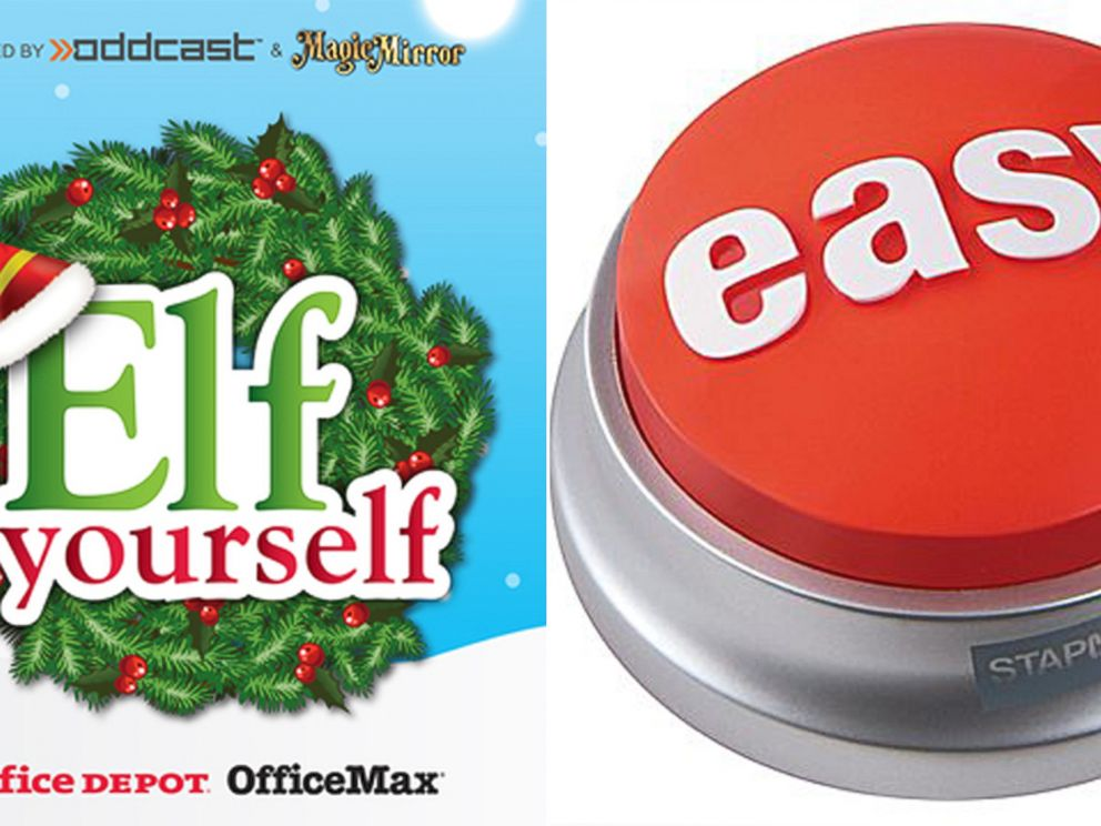 Staples vs office depot how the two stack up abc news photo office depots elfyourself game left and staples easy button right solutioingenieria Image collections