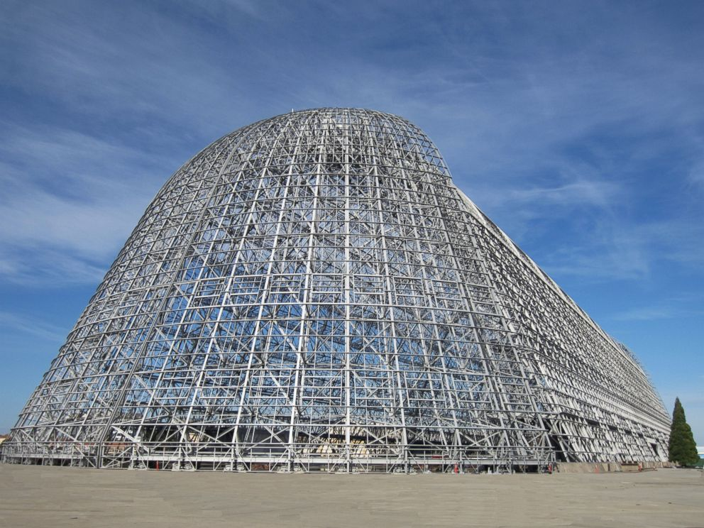PHOTO: A rear view of Hangar One with the building skin removed.
