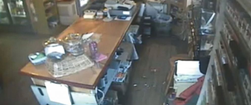 PHOTO: A surveillance video from Ellacoya Barn & Grille in Gilford, N.H, shows broken glass on the floor after the top to a display dish flew off the counter, seemingly by itself.