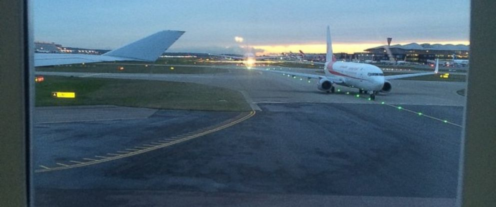 "PHOTO: An Instgram user posted this photo on Dec. 12, 2014 with the caption, ""All planes queued up on the runway at #heathrow #NATS #failure #airtrafficcontrol #breakingnews #gutted."""