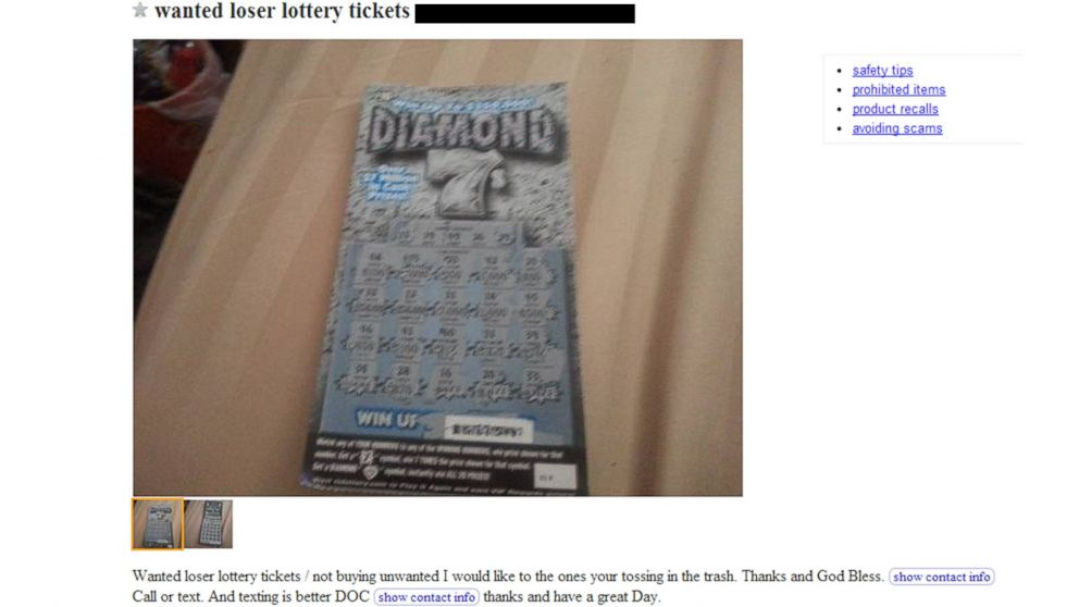 An ad posted to Craigslist in Tennessee asking for losing lottery tickets.