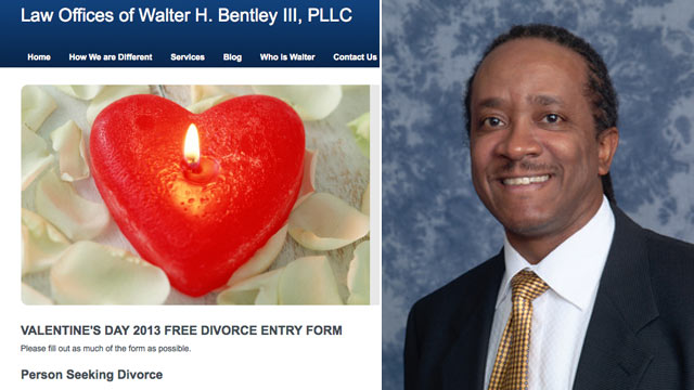 PHOTO: Michigan attorney Walter H. Bentley III is offering some lucky man or woman a Valentines Day special: a free divorce.