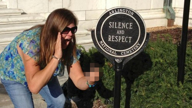 PHOTO: While visiting Arlington National Cemetery, Lindsey Stone snapped a photo of herself flipping it off and pretending to make noise in front of a Tomb of an Unknown Soldier.