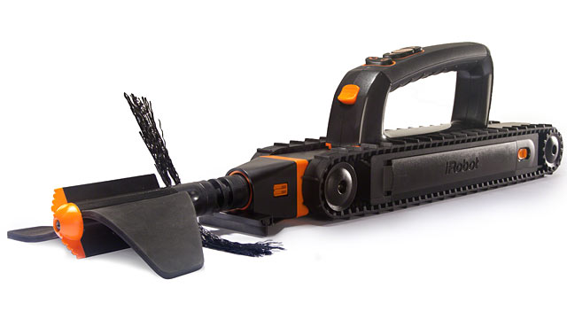 PHOTO: The Looj gutter cleaner?s augur automatically blasts away leaves, dirt and clogs.