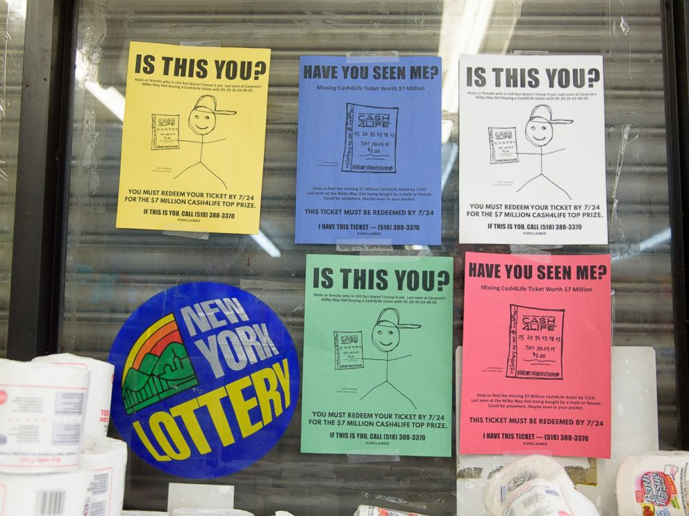 PHOTO: A photo released by the New York Lottery Commission shows signs searching for a Cash4Life winner.