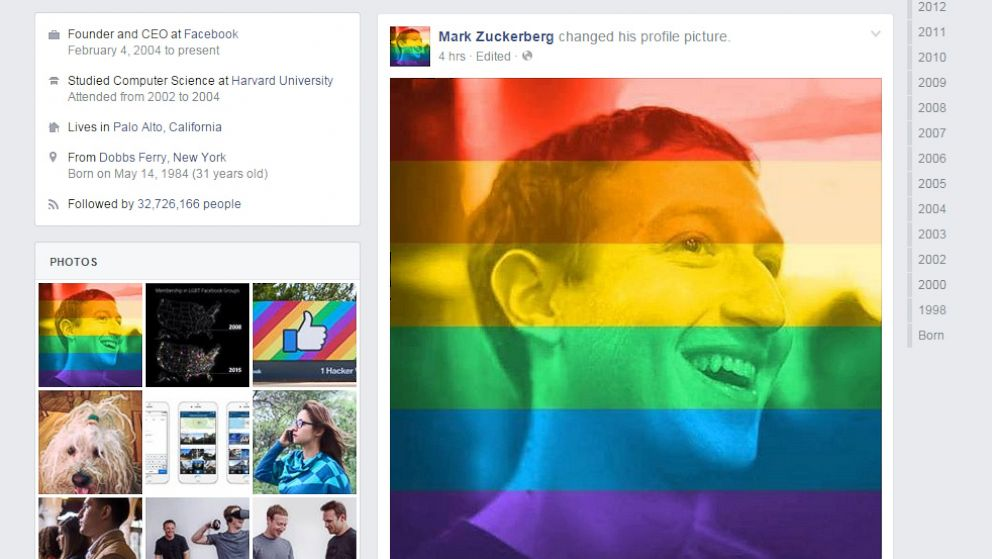 Facebook CEO Mark Zuckerberg is seen in a profile photo that has been overlayed with the colors of the rainbow.