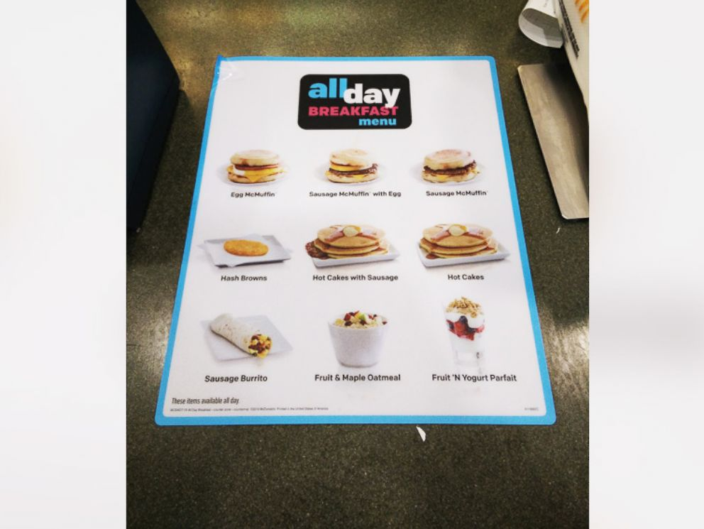 PHOTO: The new All Day Breakfast menu at McDonalds in New York City.
