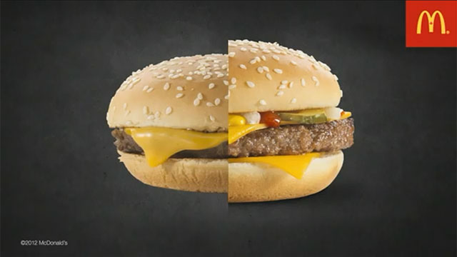 PHOTO: McDonalds has posted a video explaining how a normal burger, left, is transformed by an advertising agency into something bigger and more appealing.