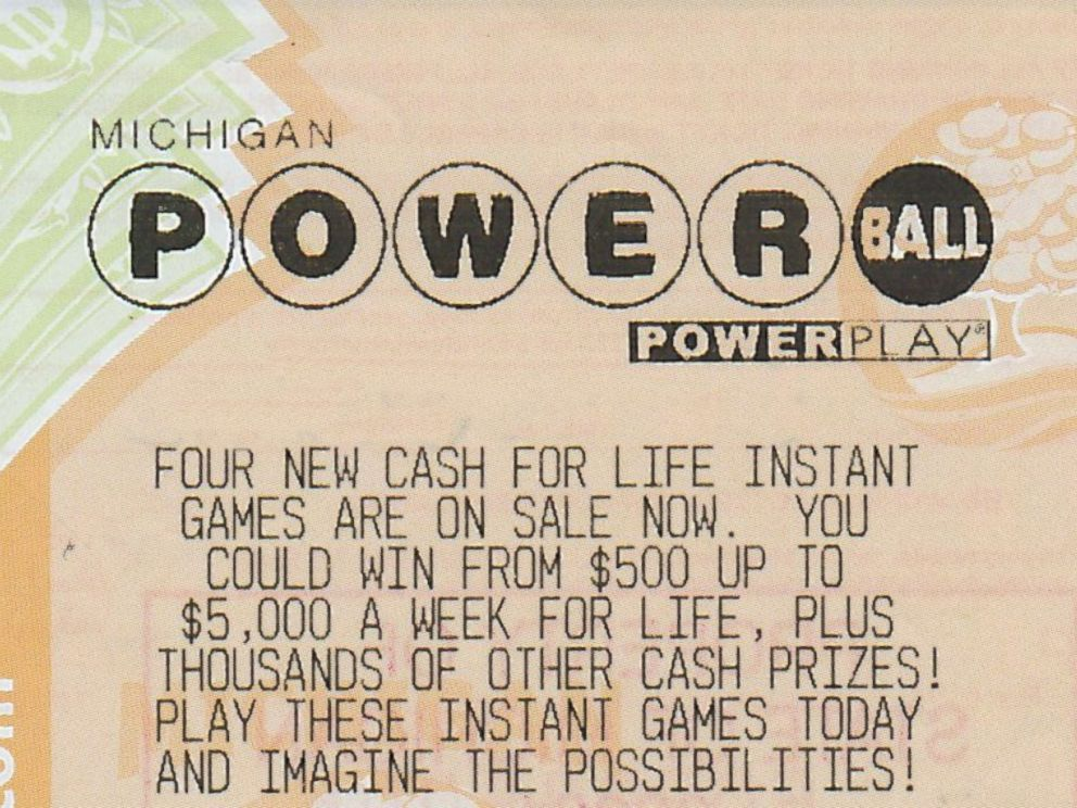 PHOTO: This file photo shows a previous winning ticket from the Michigan Powerball Lottery.