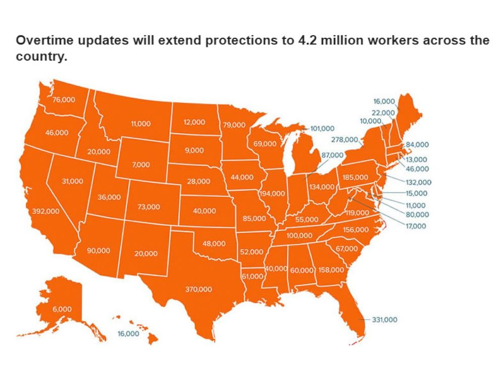 PHOTO: A map released by the U.S. Department of Labor shows the number of workers in each state that will benefit from new overtime rules.