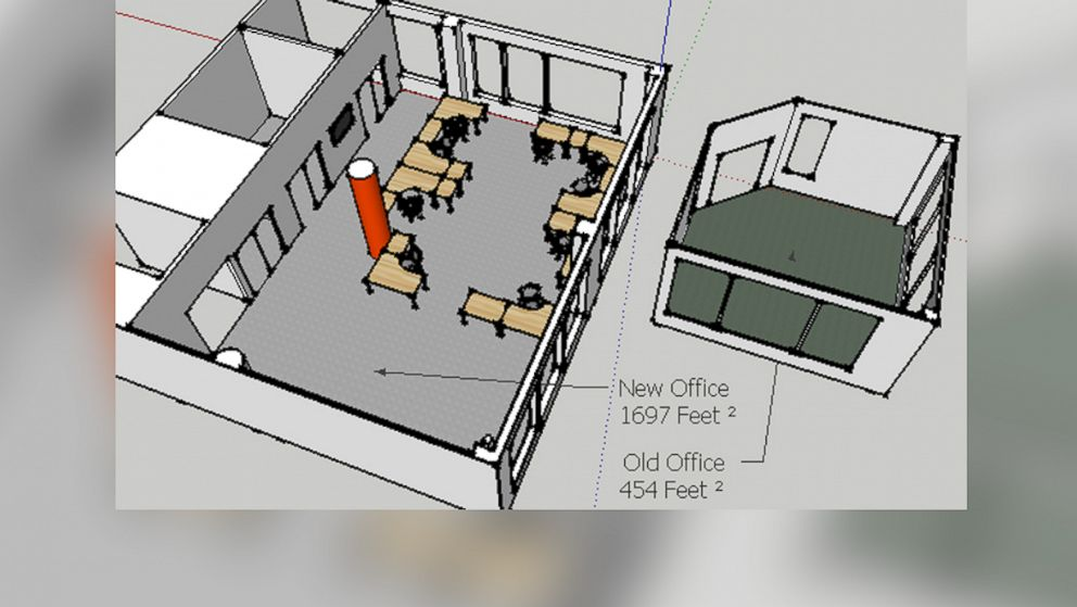 A 3-D rendering compares Reddit's old office space before the company moved in 2011.
