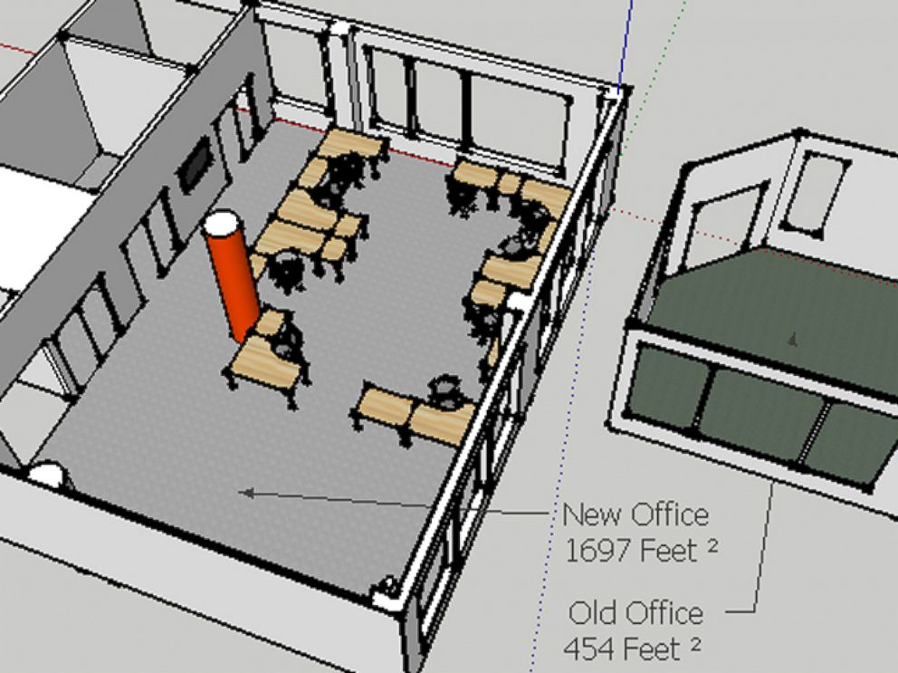 PHOTO: A 3-D rendering compares Reddit's old office space before the company moved in 2011.