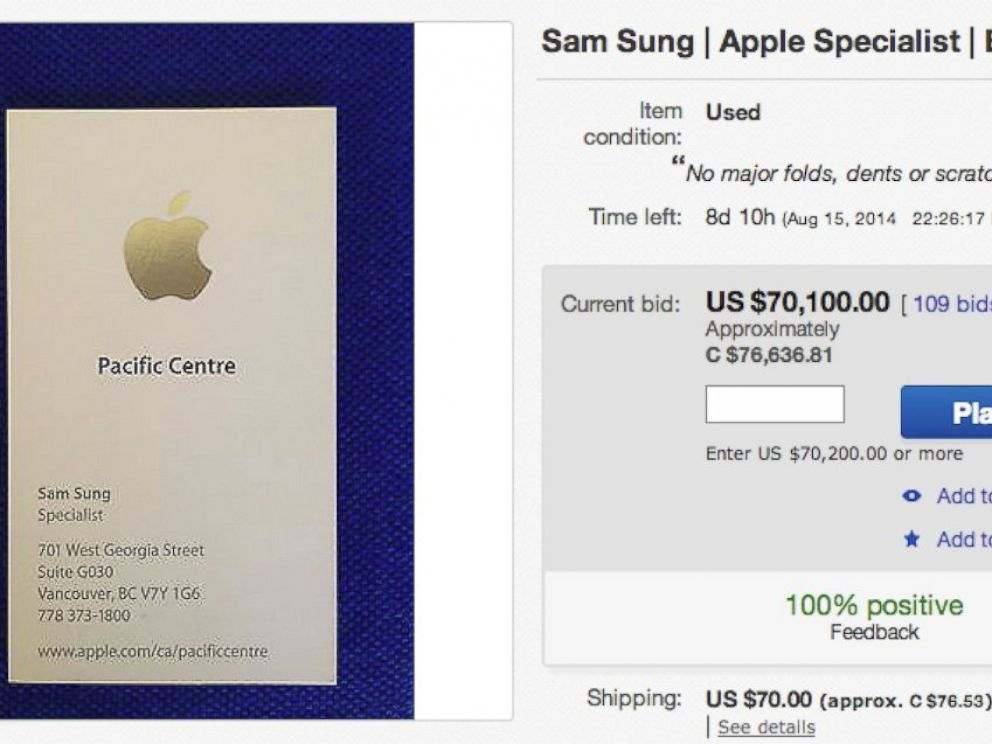 PHOTO: Apple retail employee Sam Sungs stuff is listed on eBay.