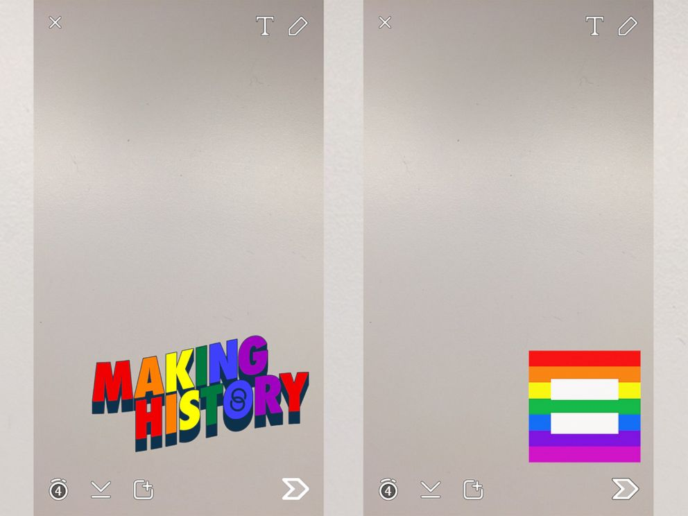 PHOTO: Snapchat is offering two filters with rainbow themes to celebrate the Supreme Court?s decision.