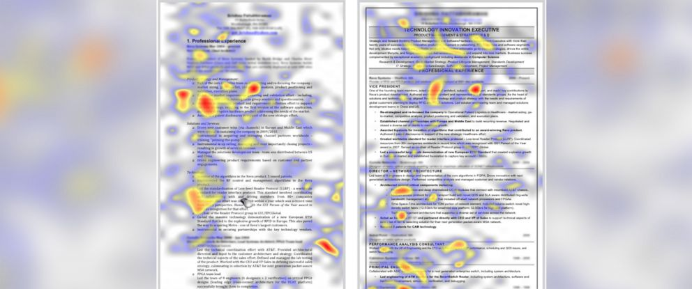 "PHOTO: The Ladders, a job-matching service, uses a ""heat map"" to compares the amount of time that recruiters look at two resumes."