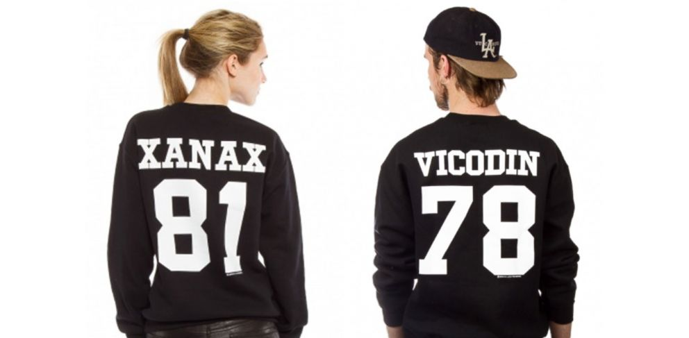 """PHOTO: Pharmaceutical company AbbVie Inc. is suing clothing boutique Kitson for selling a line of """"designer drug"""" sports jerseys."""