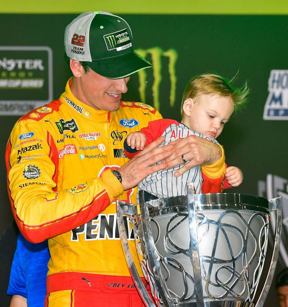 PHOTO: Joey Loganos son, Hudson, checking out the cup trophy.