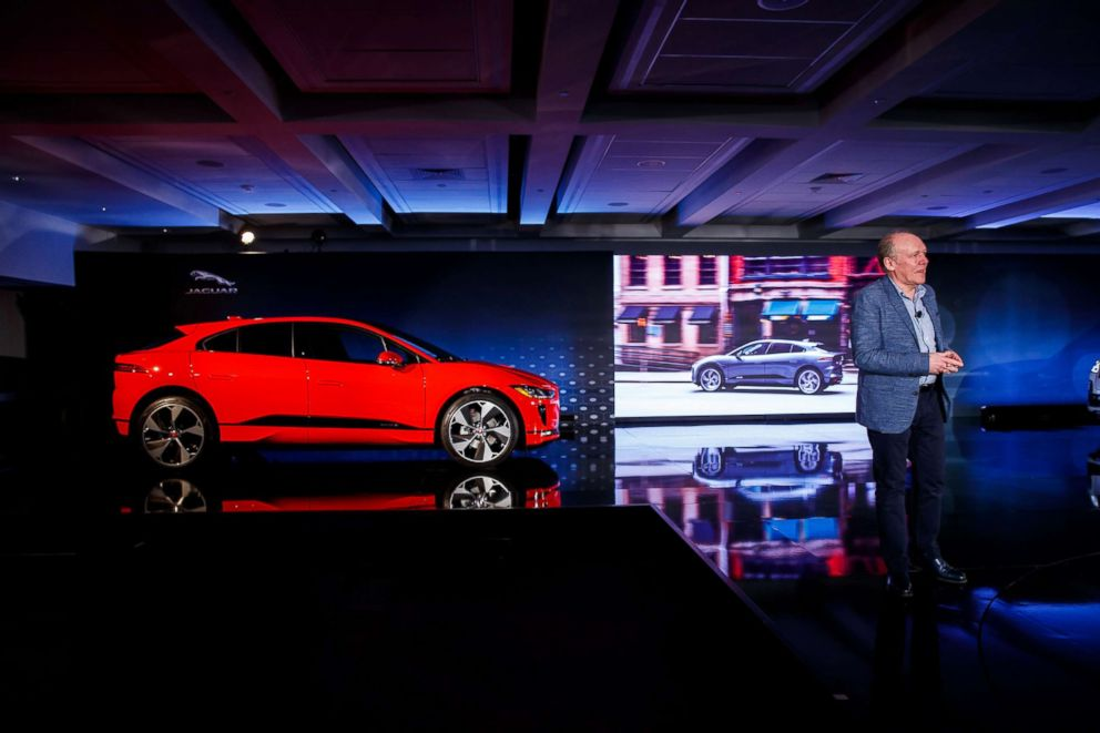 PHOTO: Ian Callum discusses Jaguars new I-PACE electric SUV at the companys North America headquarters, March 27, 2018, in Mahwah, N.J.